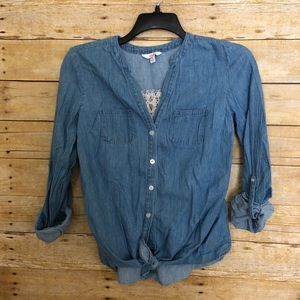 Candies Lace Back Knotted Denim Button Up Shirt